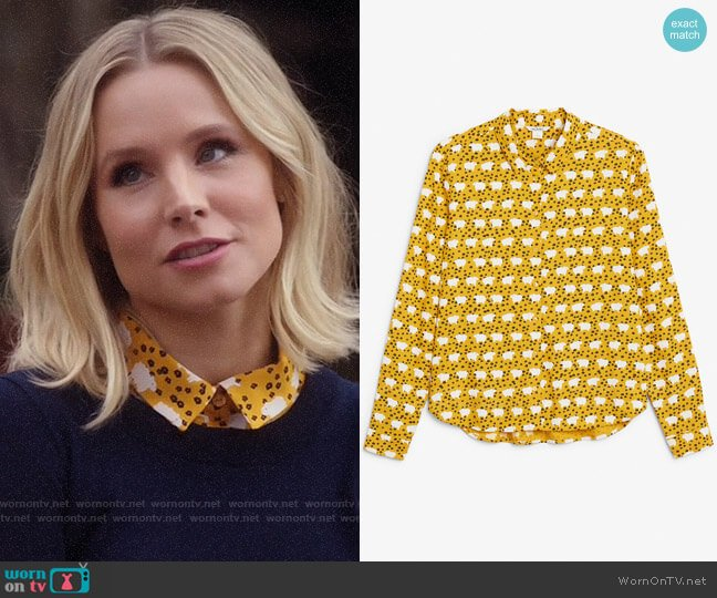 Monki Sheep and flower print blouse worn by Eleanor Shellstrop (Kristen Bell) on The Good Place