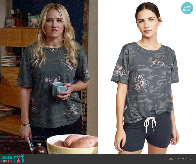 Monrow Camo Oversized Crew Tee with Floral worn by Roxy Doyle (Emily Osment) on Almost Family