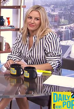 Morgan's black and white striped shirt on E! News Daily Pop