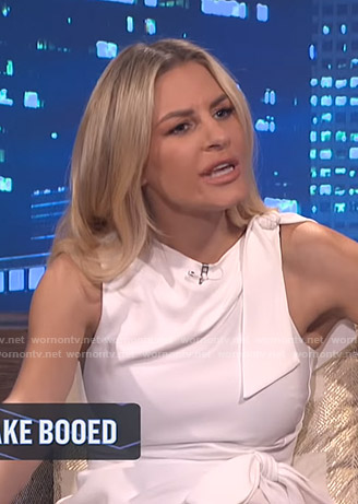Morgan's white tie detail mini dress on E! News Nightly Pop
