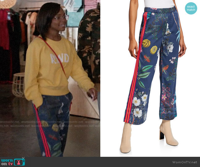 Mother The Quickie Greaser Ankle Printed Pants worn by Diane Johnson (Marsai Martin) on Blackish