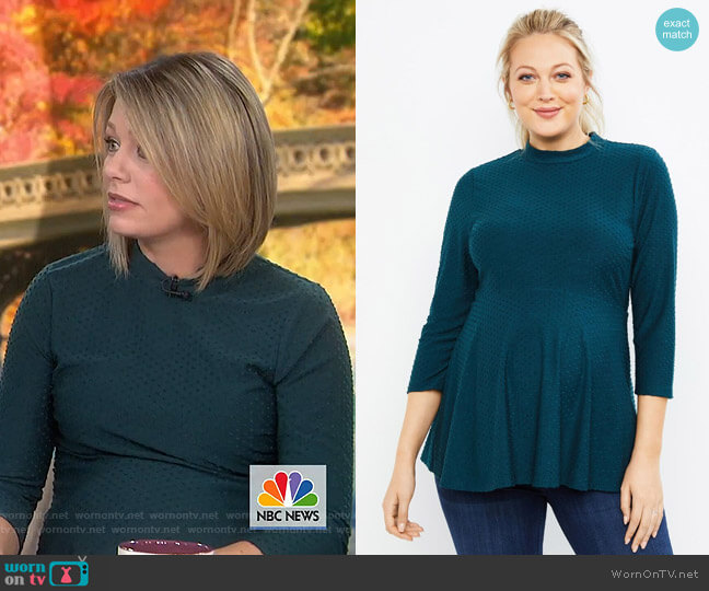 Clip Dot Peplum Maternity Top by Motherhood Maternity worn by Dylan Dreyer  on Today