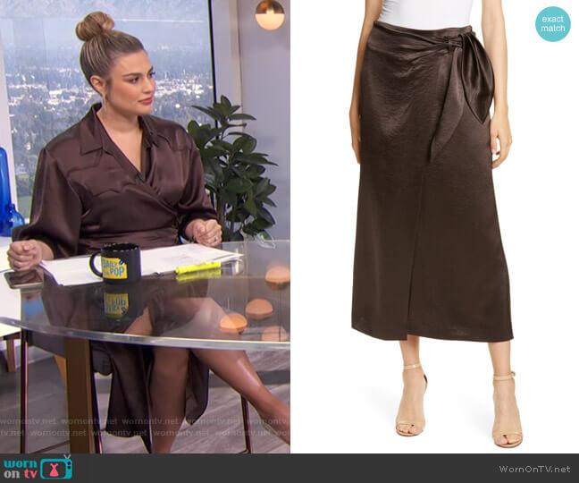 Amas Crinkled Satin Midi Wrap Skirt by Nanushka worn by Carissa Loethen Culiner  on E! News