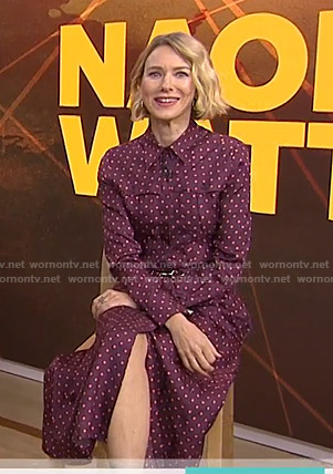 Naomi Watts's purple polka dot shirtdress on Today