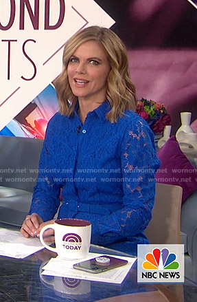 Natalie Morales's blue belted lace shirtdress on Today