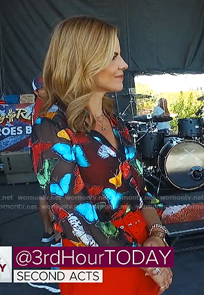 Natalie Morales's butterfly print sheer blouse on Today