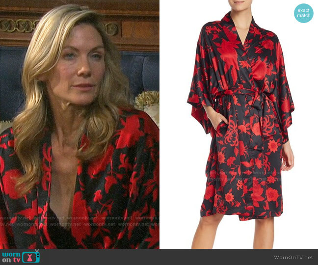 Natori Floral Print Wrap Robe worn by Kristen DiMera (Stacy Haiduk) on Days of our Lives