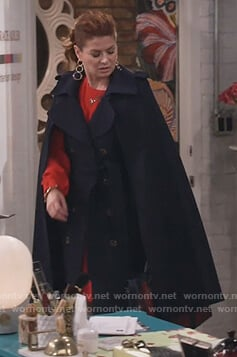 Grace's navy double breasted cape coat on Will and Grace