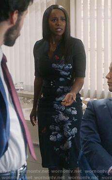 Michaela's floral sheath dress on How to Get Away with Murder