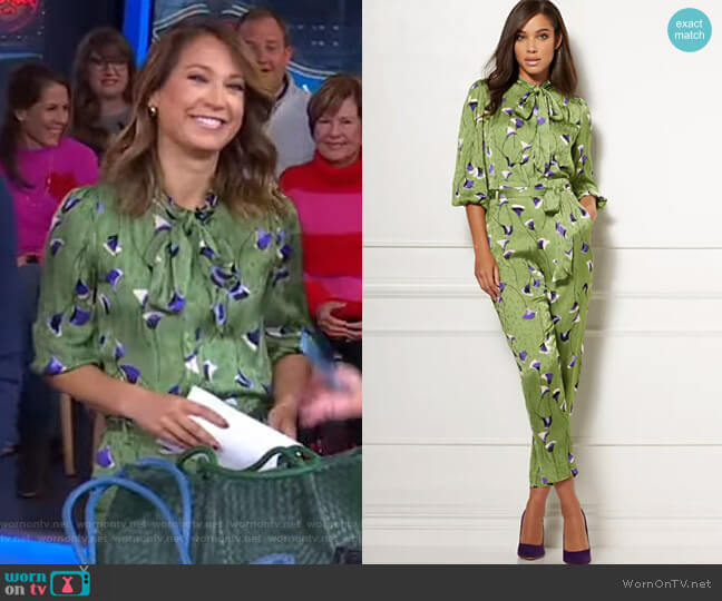 Isabella Bow Blouse and Pants - Eva Mendes Collection by New York & Company worn by Ginger Zee  on Good Morning America