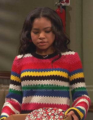 Nia's multicolor striped crochet sweater on Ravens Home
