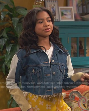Nia's colorblock cropped denim jacket on Ravens Home