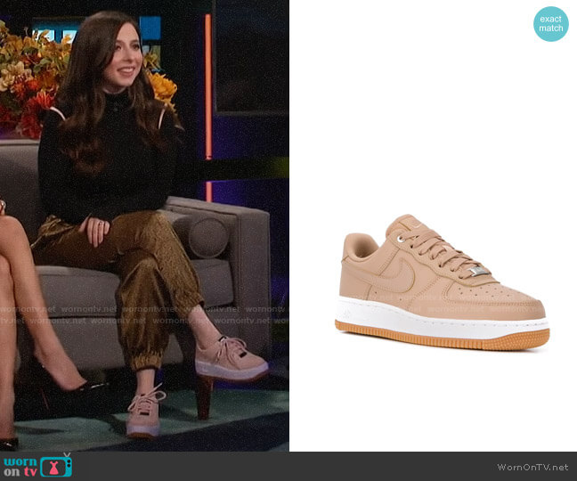 Nike Air Force 1 Sage Low worn by Esther Povitsky on A Little Late with Lilly Singh