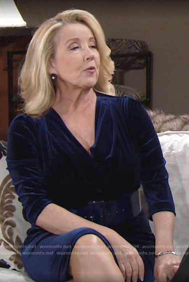 Nikki's blue velvet Thanksgiving dress on The Young and the Restless