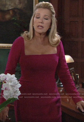 Nikki's pink square neck sheath dress on The Young and the Restless