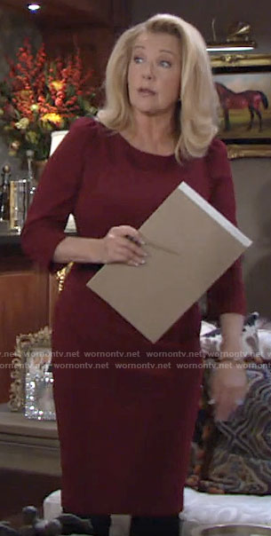 Nikki's red sheath dress on The Young and the Restless