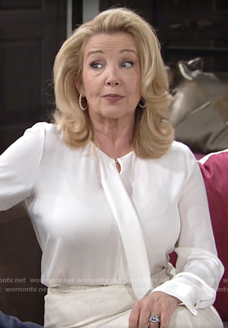 Nikki's white front ruffle blouse on The Young and the Restless
