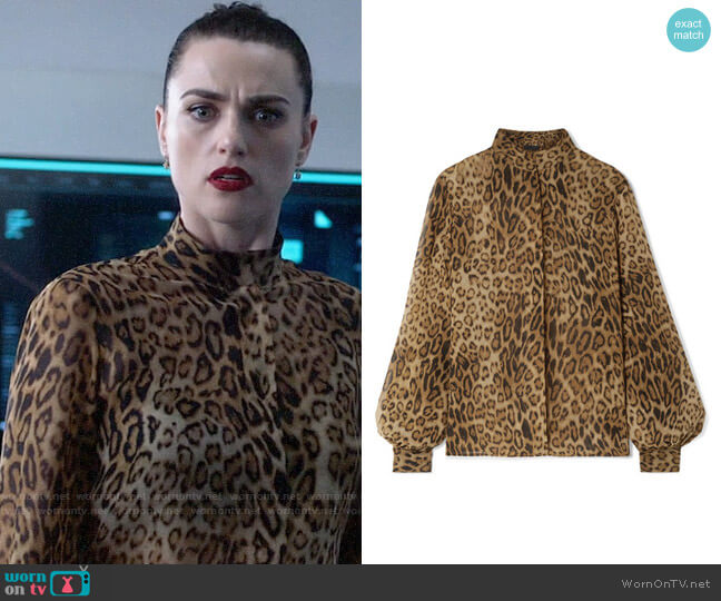 Nili Lotan Evelyn Leopard Blouse worn by Lena Luthor (Katie McGrath) on Supergirl