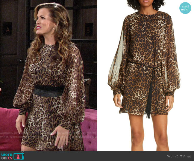 Nili Lotan Rebeca Leopard Print Dress worn by Chelsea Lawson (Melissa Claire Egan) on The Young & the Restless