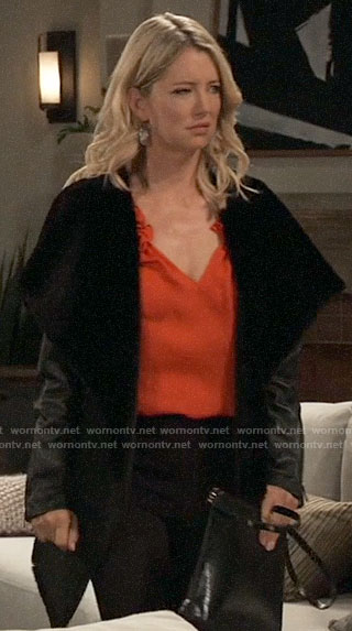 Nina's leather coat with shawl collar on General Hospital