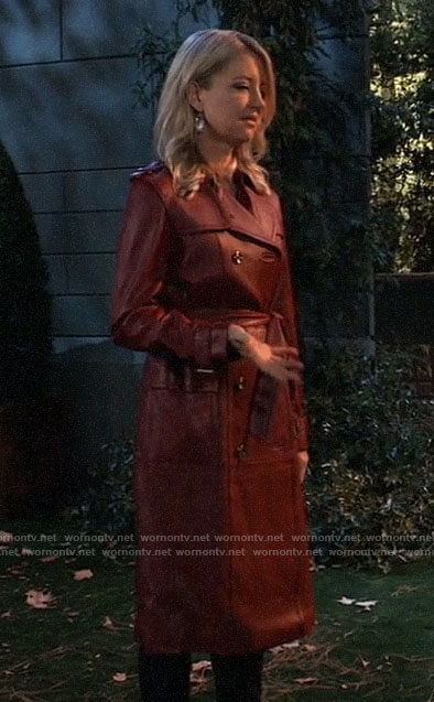 Nina's red leather trench coat on General Hospital