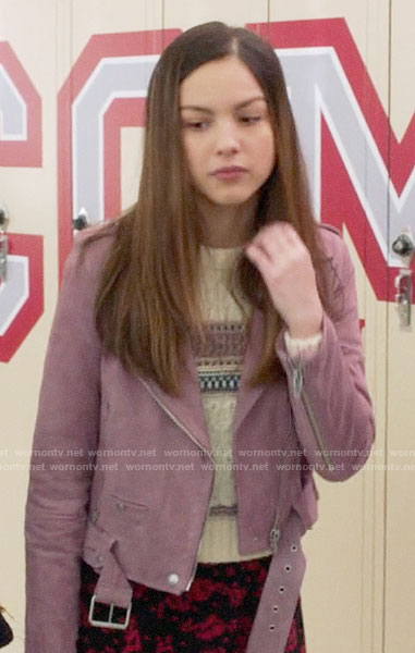Nini's purple suede moto jacket on High School Musical The Musical The Series
