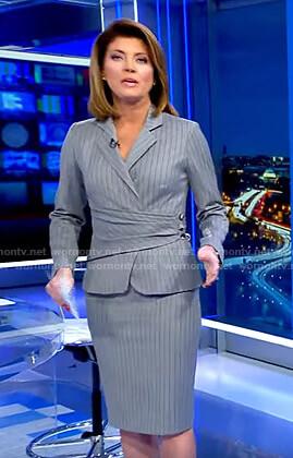 Norah's grey pinstripe blazer and skirt on CBS Evening News