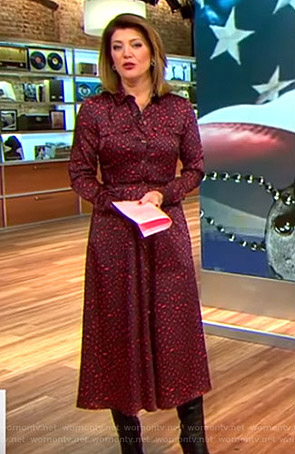 Norah's red leopard print shirtdress on CBS This Morning