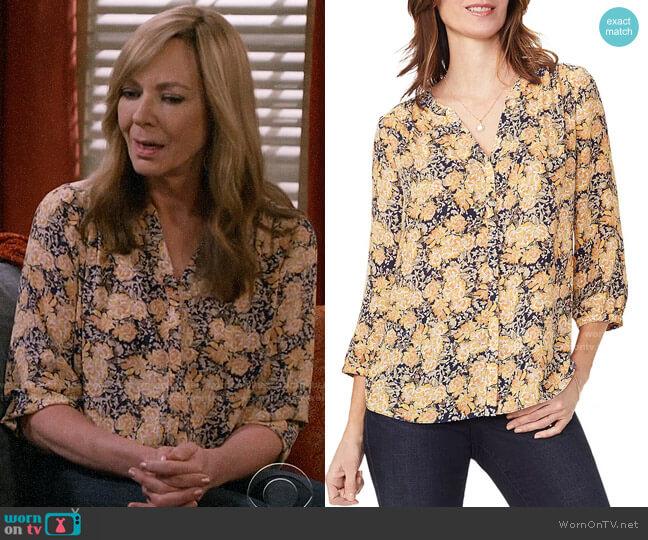 NYDJ Goldenrod Garden Pintuck Blouse worn by Bonnie Plunkett (Allison Janney) on Mom