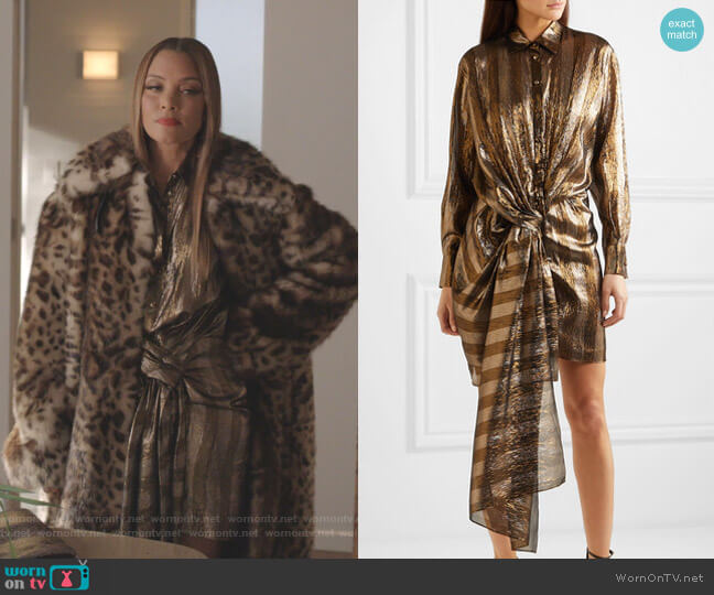 Twist-Front Striped Lame Mini Dress by Oscar de la Renta worn by Dominique Deveraux (Michael Michele) on Dynasty
