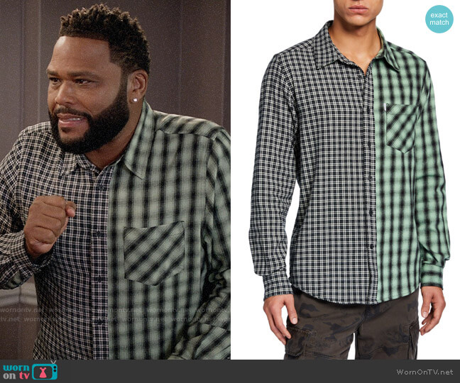Ovadia & Sons Mixed Plaid Long-Sleeve Plaid Shirt worn by Andre Johnson (Anthony Anderson) on Blackish
