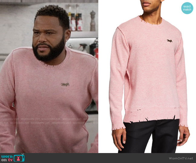 Ovadia & Sons Distressed Crewneck Sweater worn by Andre Johnson (Anthony Anderson) on Blackish