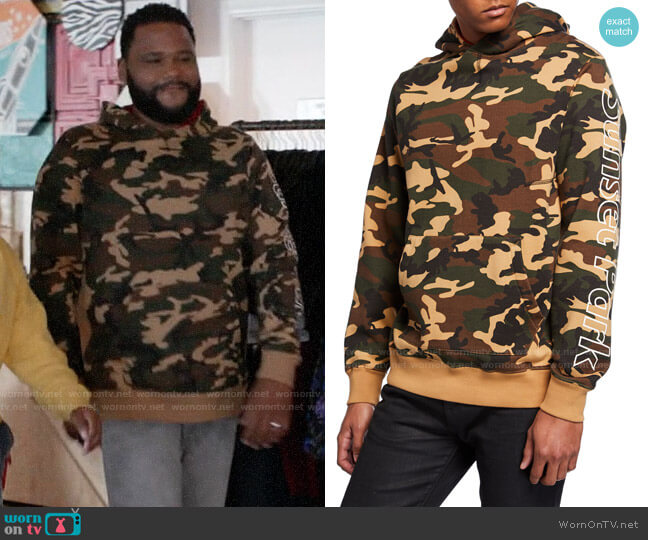Ovadia & Sons Terrence J Camo Hoodie worn by Andre Johnson (Anthony Anderson) on Blackish