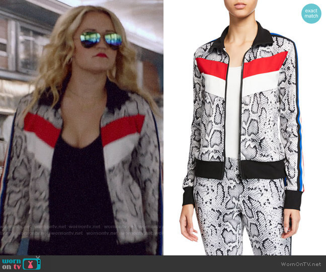 Pam & Gela Snake-Print Colorblock Track Jacket worn by Roxy Doyle (Emily Osment) on Almost Family