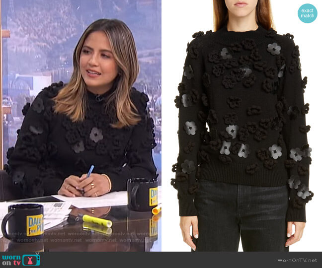 Floral Appliqué Sweater by Paskal worn by Erin Lim  on E! News
