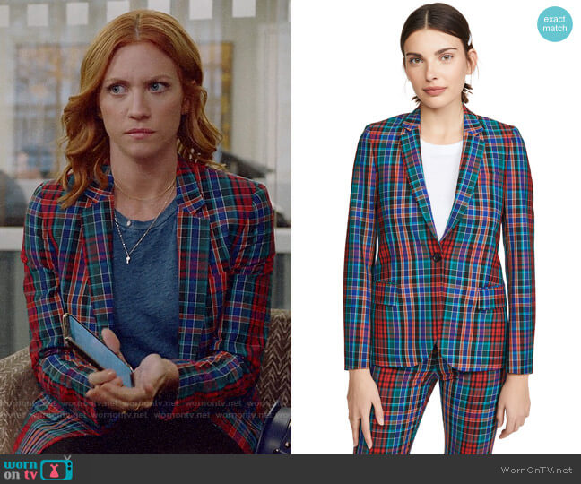 Paul Smith Plaid Jacket worn by Julia Bechley (Brittany Snow) on Almost Family