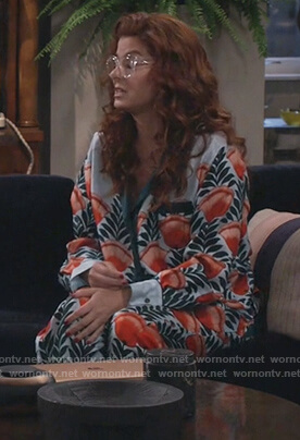 Grace's floral pajama set on Will and Grace