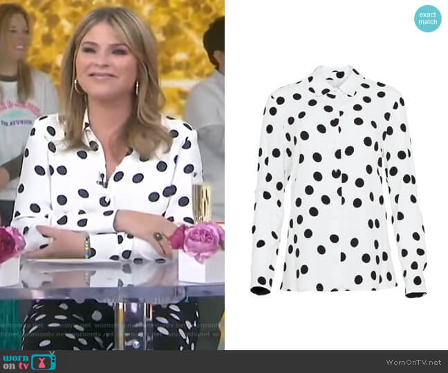 Polka Dot Button Front Top by Pearl by Lela Rose worn by Jenna Bush Hager  on Today