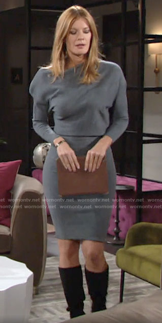 Phyllis's grey knit dress on The Young and the Restless