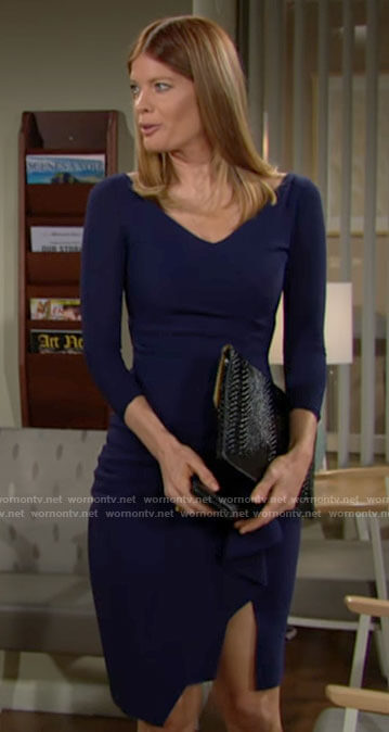 Phyllis's navy v-neck dress with side ruffle on The Young and the Restless