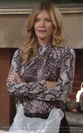 Phyllis's snake print top on The Young and the Restless