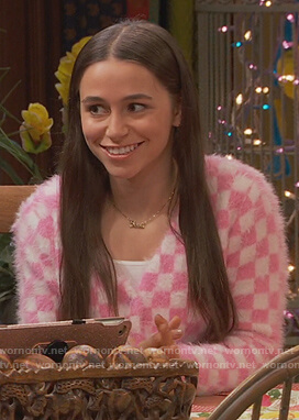 Tess's pink checkerboard cardigan on Ravens Home