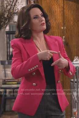 Karen's pink double breasted blazer on Will and Grace