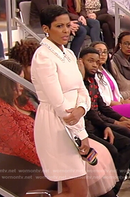 Tamron's pink embellished collar dress on Tamron Hall Show
