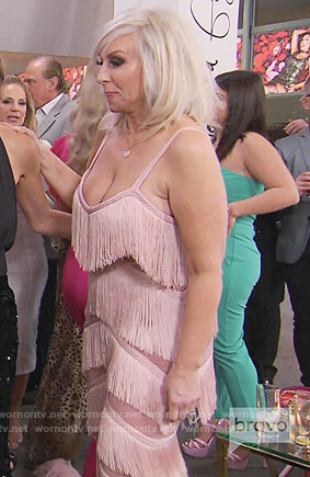 Margaret's pink fringe jumpsuit on The Real Housewives of New Jersey