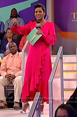 Tamron's pink ruffle wrap dress on Tamron Hall Show