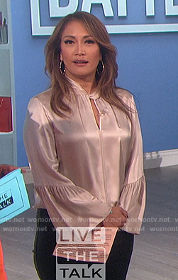 Carrie's pink satin blouse on The Talk