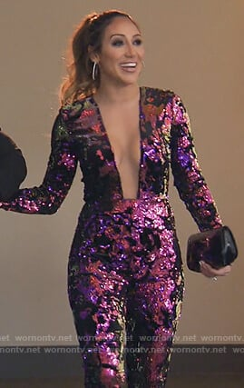 Melissa's pink sequin plunging jumpsuit on The Real Housewives of New Jersey