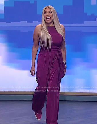 Wendy's pink sleeveless tie jumpsuit on The Wendy Williams Show