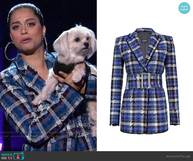 Pinko Houndstooth tweed blazer worn by Lilly Singh  on A Little Late with Lilly Singh